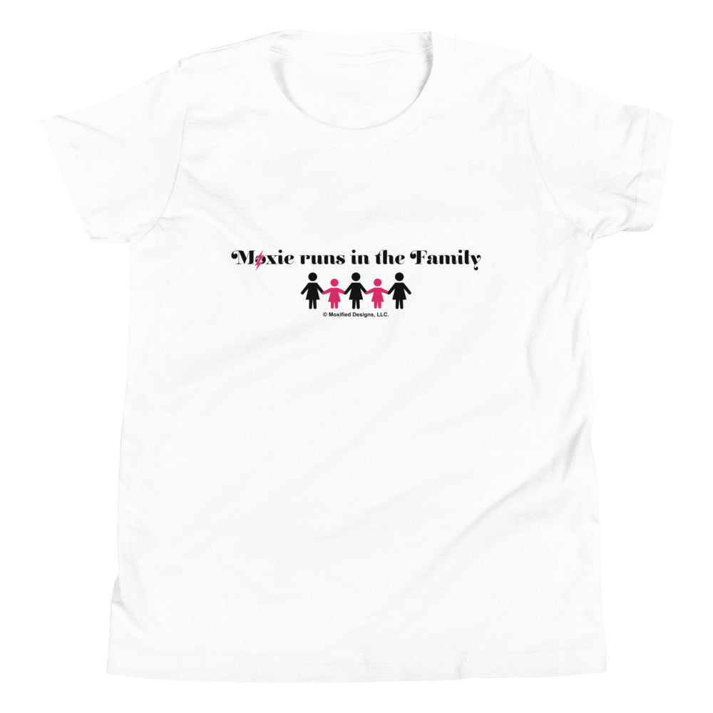 Runs In The Family Standard Youth Tee (Pink/Black Design)