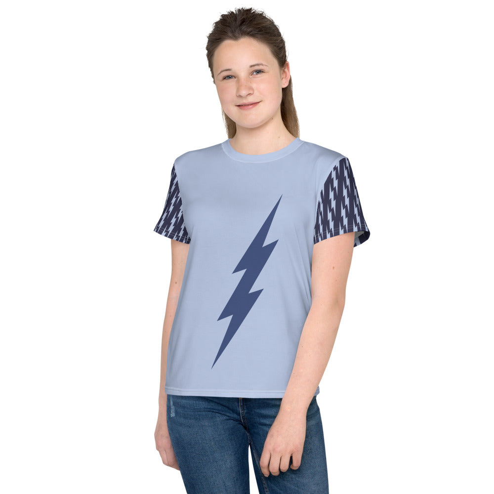 Youth Blue Center Tee (Light Blue Tee, Deep Blue Bolt)