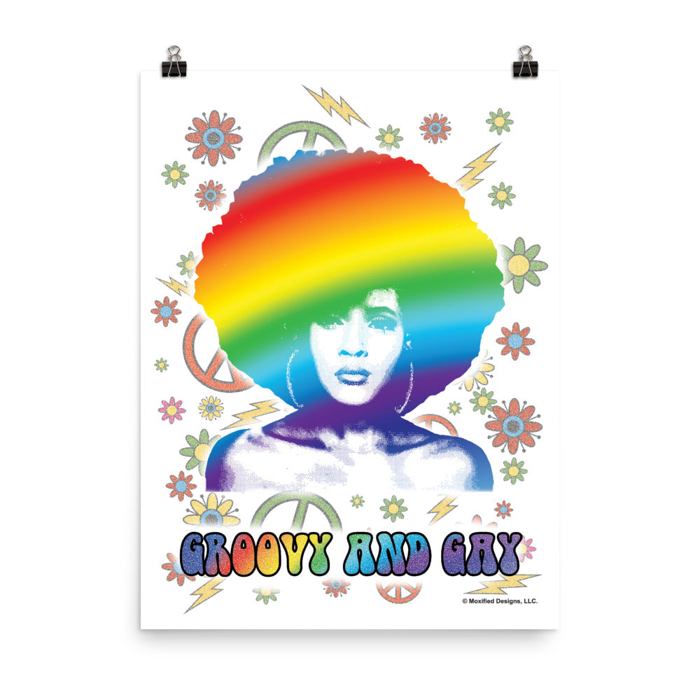 Groovy and Gay Art Print (Rainbow)