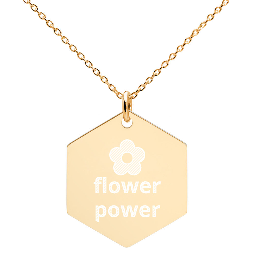 Flower Power Engraved Silver Hexagon Necklace