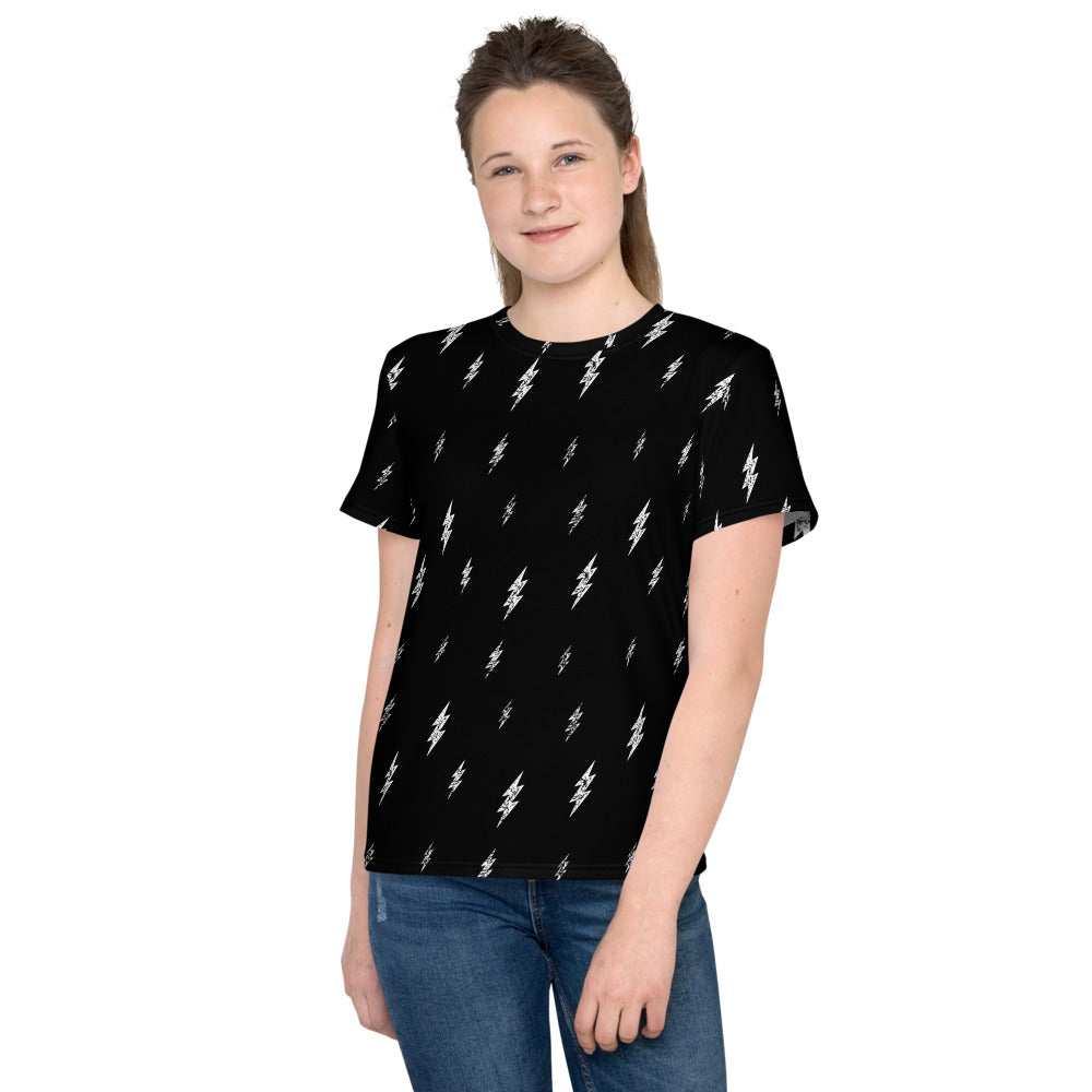 Youth Floating Bolt Tee (Black Tee, White Bolts)