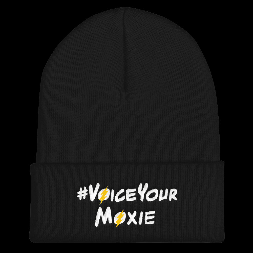 Cuffed Beanie (#VoiceYourMoxie White/Yellow Bolt), Cuffed Beanie. Moxie Chic is a brand that promotes girl power with girl empowerment/female empowerment apparel and other products. #VoiceYourMoxie is our handle for social media outreach because Moxie Chic believes every girl should exercise her voice for positive change (#VoiceYourMoxie).  Our brand celebrates and elevates girls.
