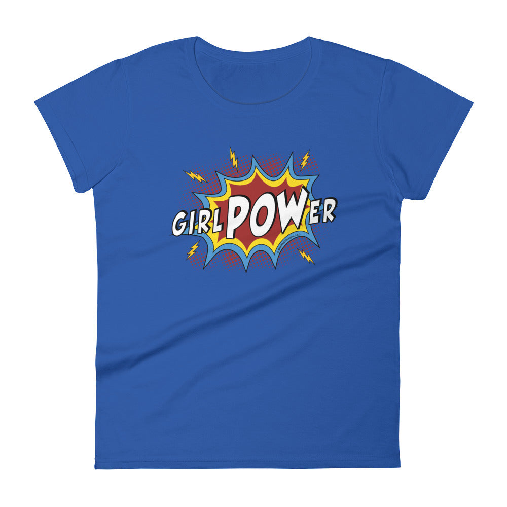 girlPOWer Women's Semi-Fitted Tee (White Text, Multi Design)