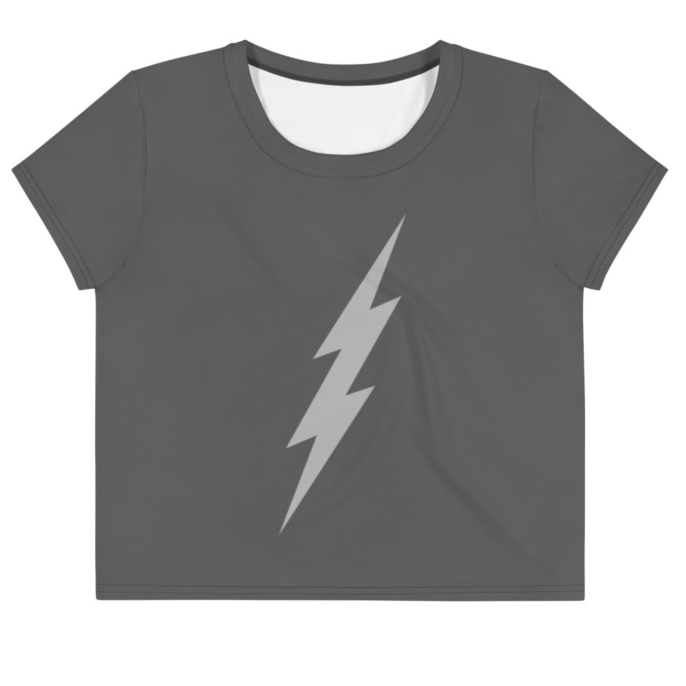 Grey Power Bolt Crop Top (Dark Grey Top, Light Grey Bolt)