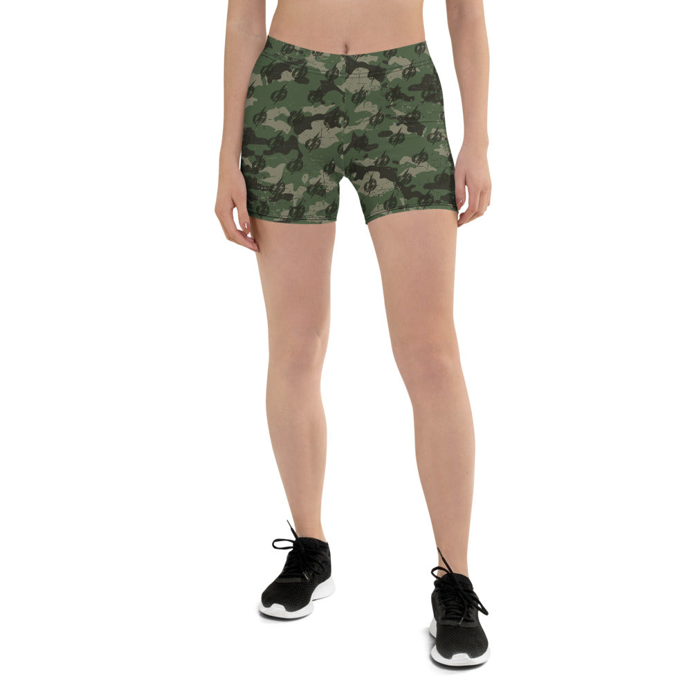 Camo Power Bolt Athletic Spandex Shorts (Green/Black)