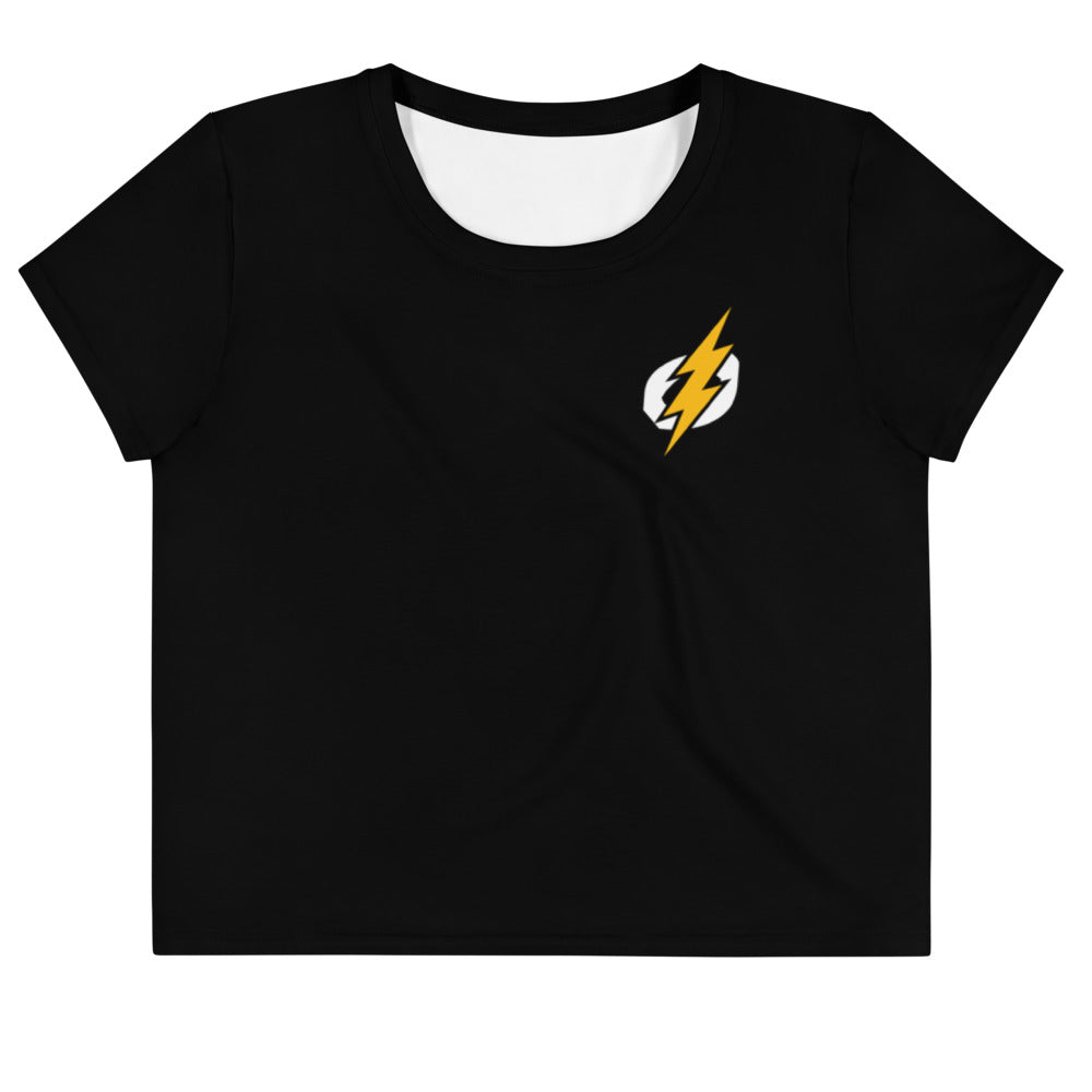 Logo Crop Top (Black Shirt, Yellow/White Logo)