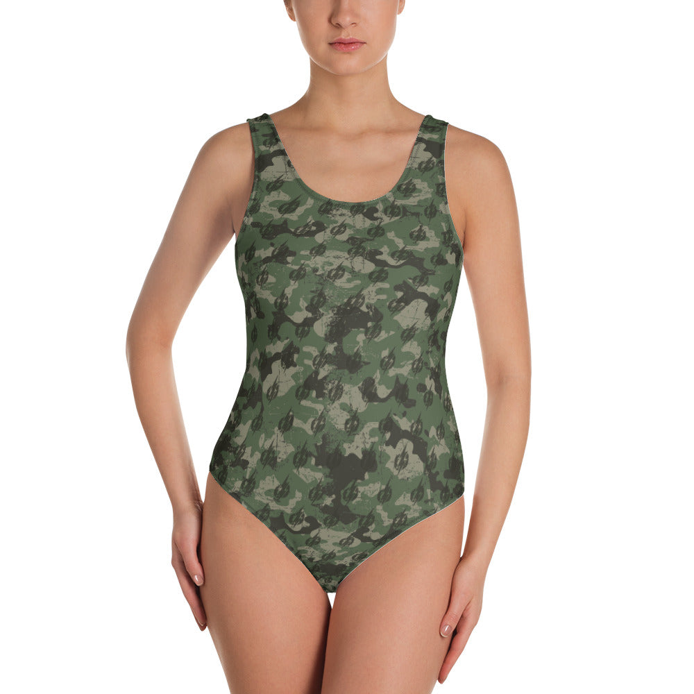 Camo Power Bolt One-Piece Women's Swimsuit (Green/Black)