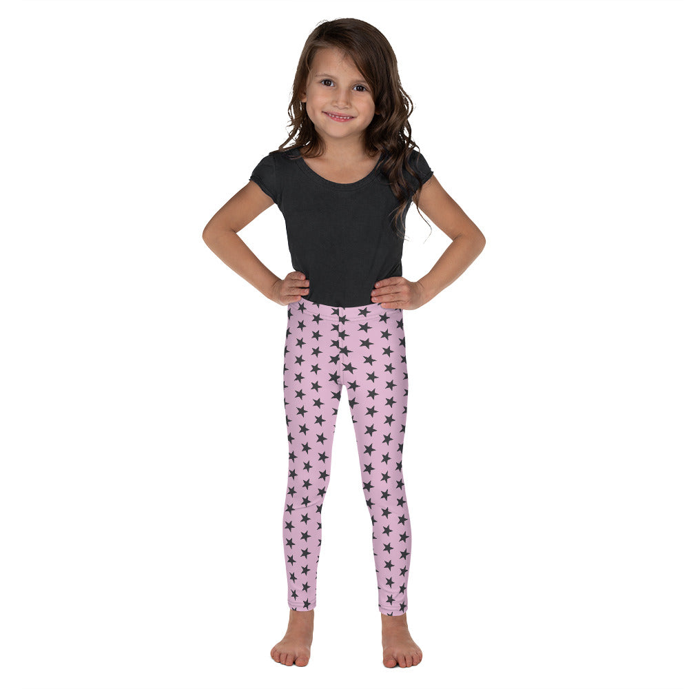 Kid's Superstar Leggings (Light Pink Leggings, Charcoal Grey Stars)