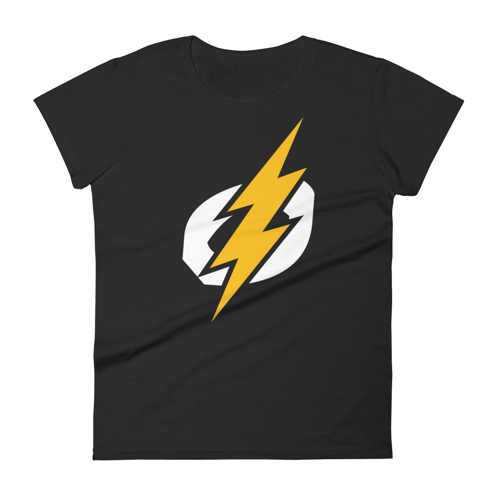 Logo Bolt Women's Semi-Fitted Tee (Black Shirt, White/Yellow Logo)