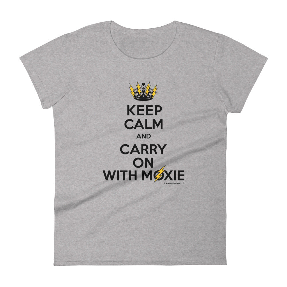 Keep Calm Women's Semi-Fitted Tee (Black/Yellow Design)