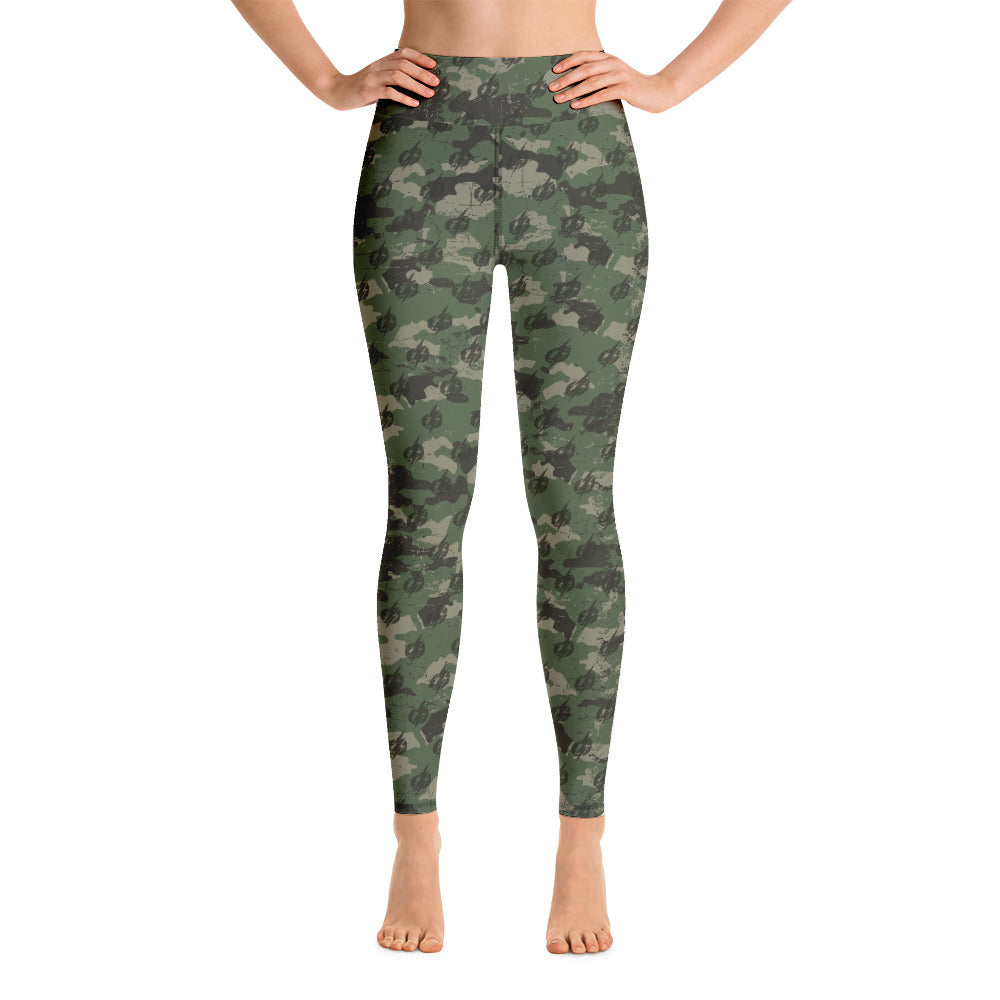Camo Power Bolt Yoga Pants With Pocket (Green/Black)
