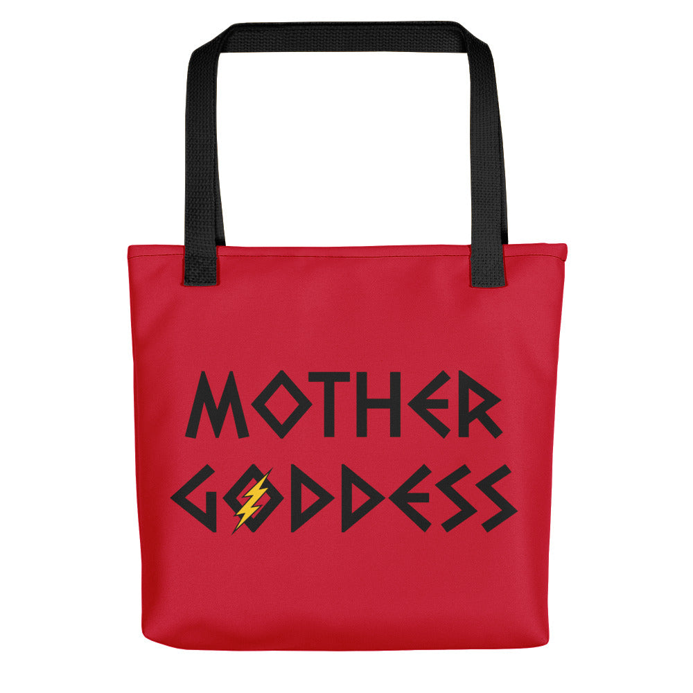 Mother Goddess Tote (Red Bag, Black/Yellow Design)