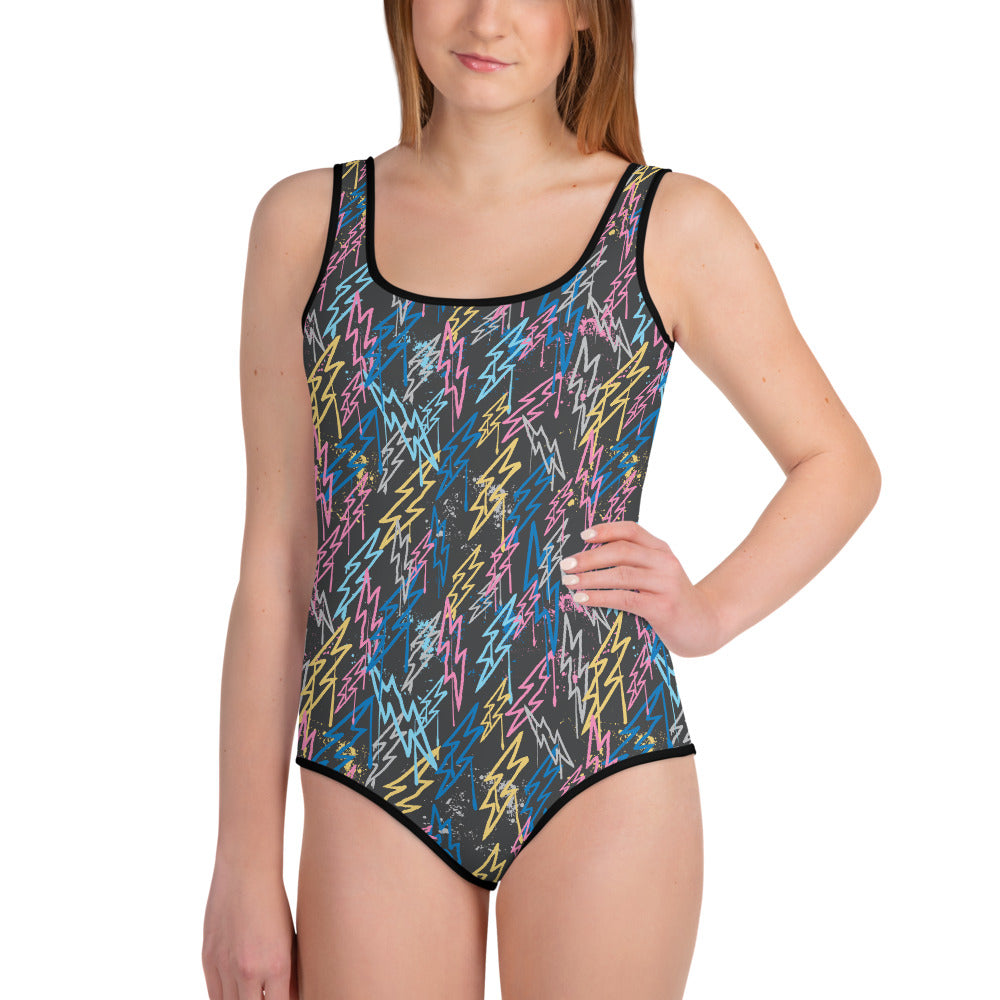 Graffiti Bolts Youth Swimsuit (Multi, Dark Background)