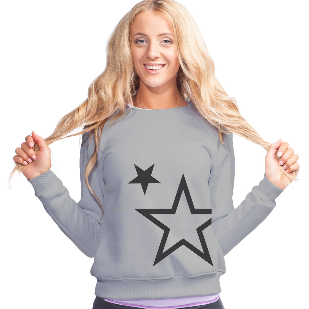Unisex Superstar Sweatshirt (Light Grey Sweatshirt, Charcoal Grey Stars)