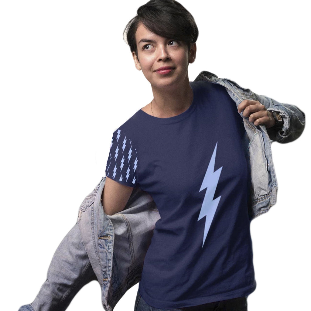 Women's Contrasting Sleeve Bolt Tee (Deep Blue Tee, Light Blue Bolts)