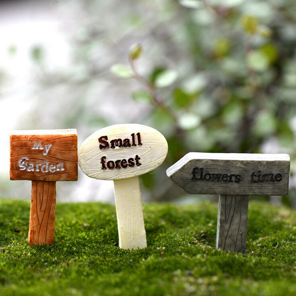 Figurines Micro Landscape Resin Crafts Sign Board