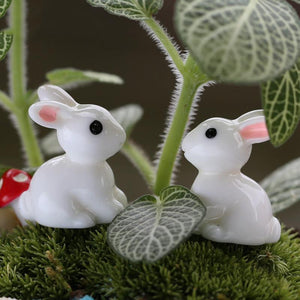 1 Pair Mini Rabbit Ornament Miniature Figurine Plant