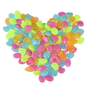 50 Pcs Glow in the Dark Garden Pebbles