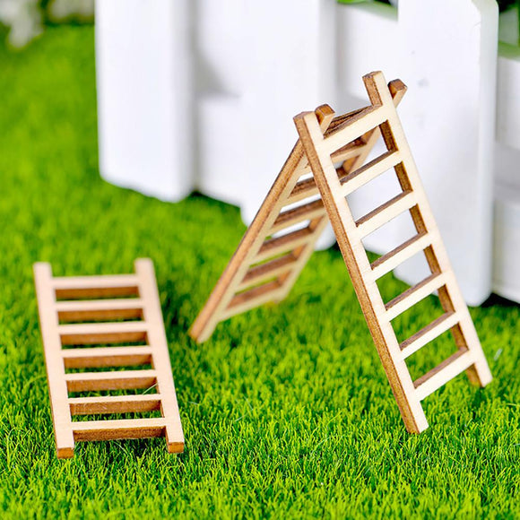 3Pcs Mini Miniature Wooden Step Ladder