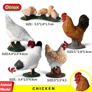 Oenux 5PCS Simulation Chicken Hens Rooster Farm Animal