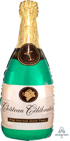 Green Champagne Bottle Supershape Balloon