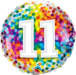 11th Birthday Rainbow Confetti Balloon