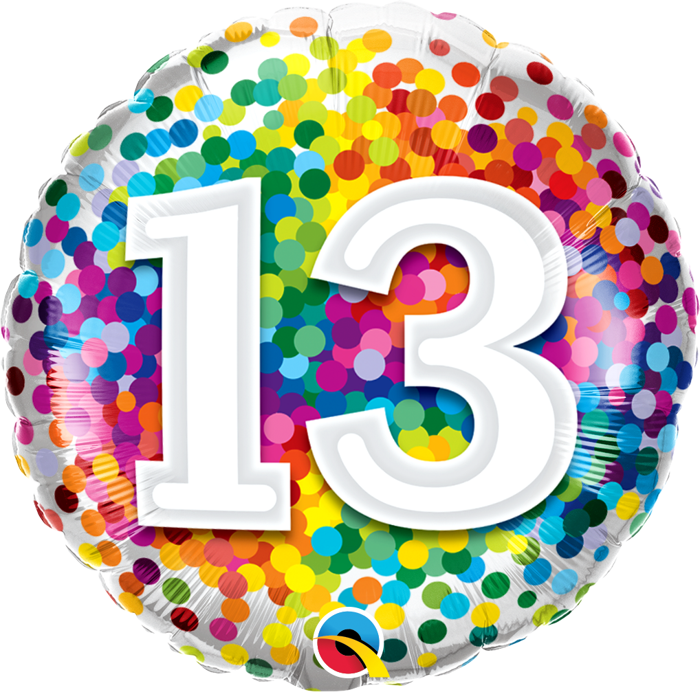 13th Birthday Rainbow Confetti Balloon