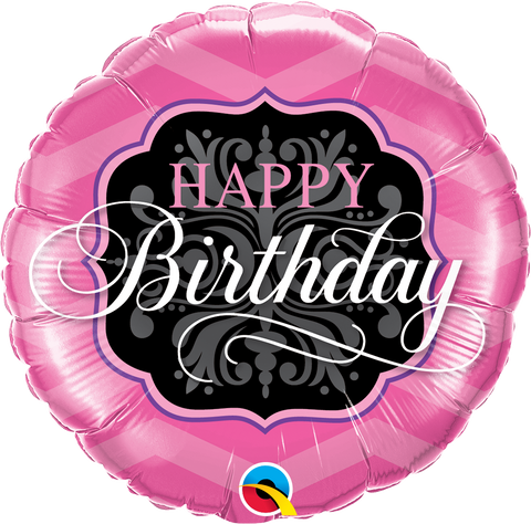 Happy Birthday Pink And Black Balloon