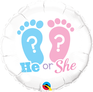 He Or She Footprints Balloon