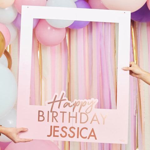 Rose Gold Foiled Personalised Happy Birthday Selfie Photo Booth Frame