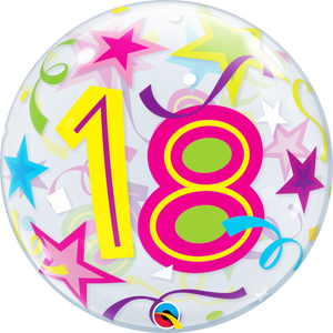 18th Birthday Brilliant Stars Bubble Balloon