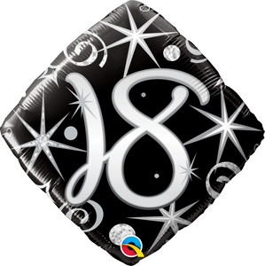 18th Elegant Sparkles And Swirls Balloon