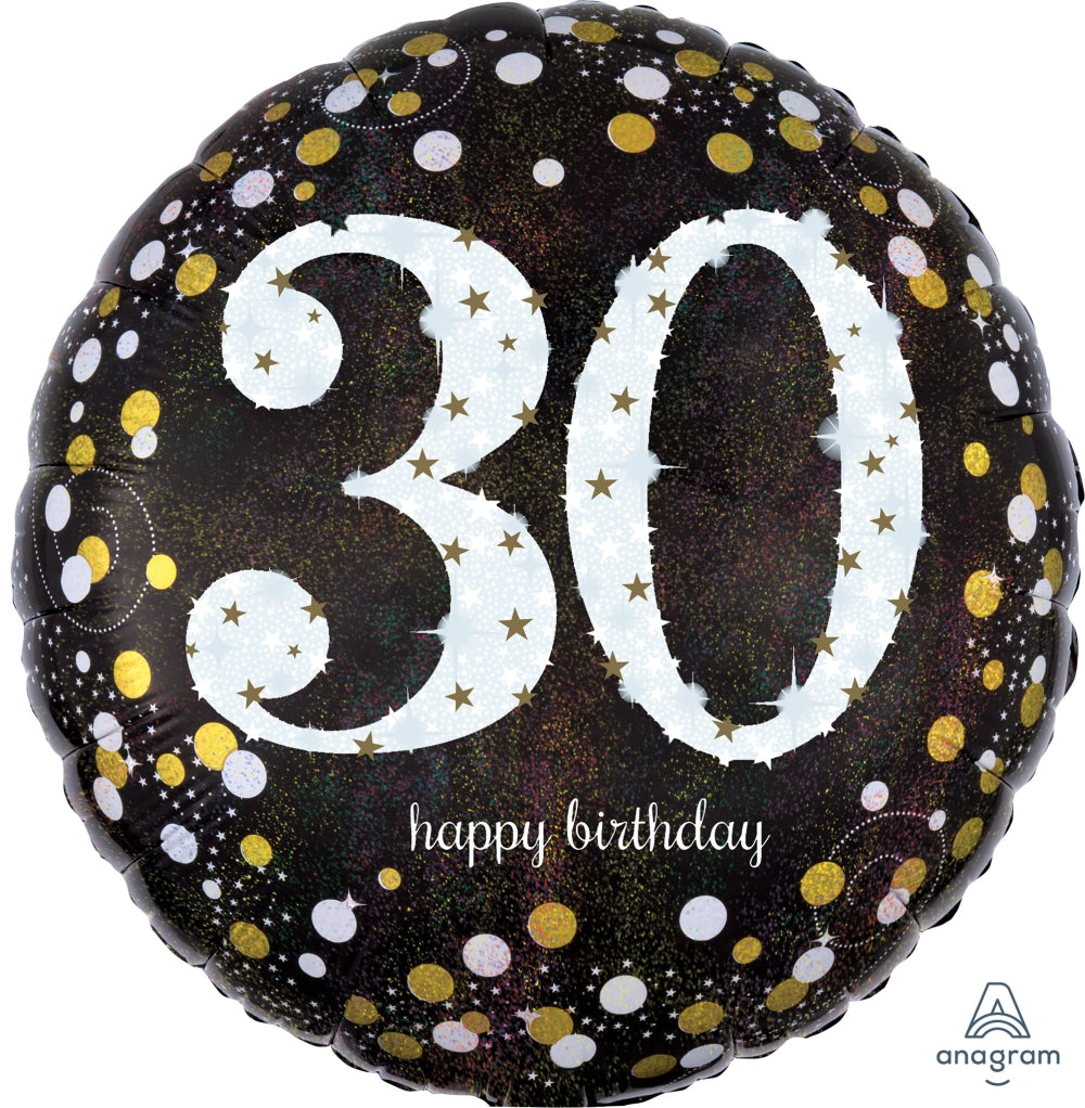 Black And Gold 30th Birthday Balloon