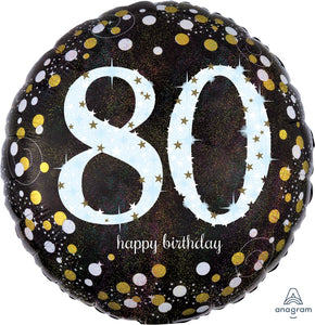 Black And Gold 80th Birthday Balloon
