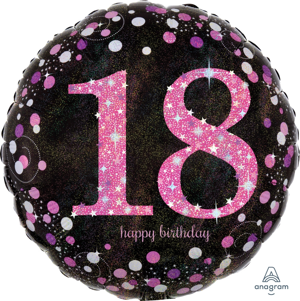 Black And Pink 18th Birthday Balloon