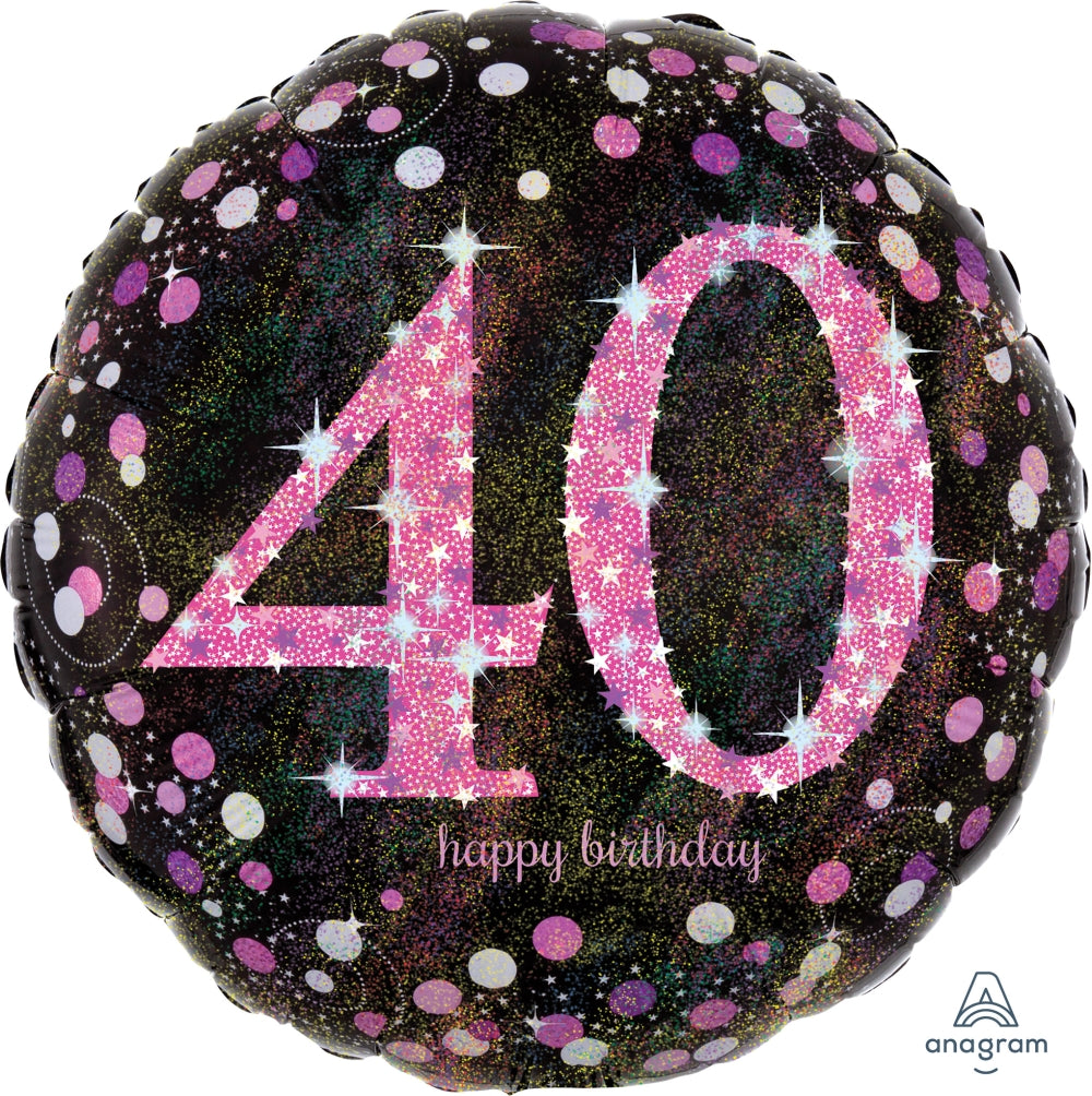 Black And Pink 40th Birthday Balloon
