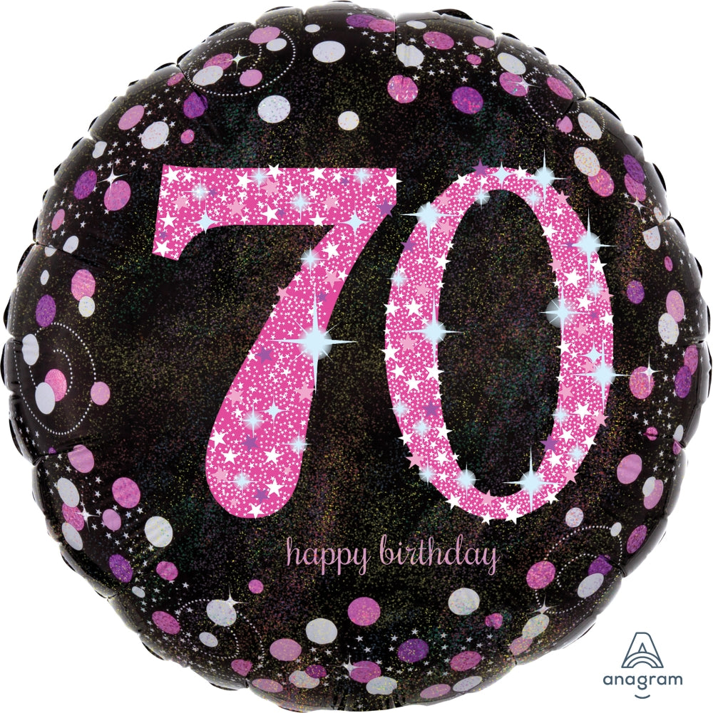 Black And Pink 70th Birthday Balloon