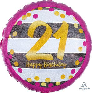 Pink & Gold 21st Birthday Balloon