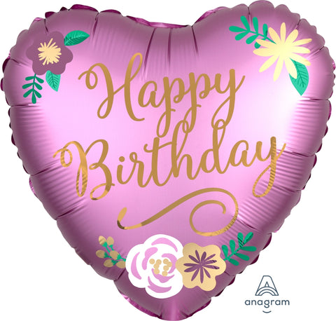 Happy Birthday Satin Luxe Flowers Balloon