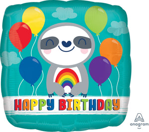Rainbow Happy Birthday Sloth Balloon
