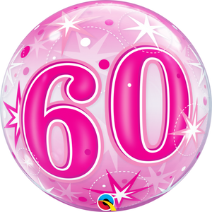 60th Pink Starburst Sparkle Bubble Balloon