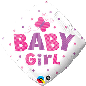 Baby Girl Dots And Butterfly Balloon