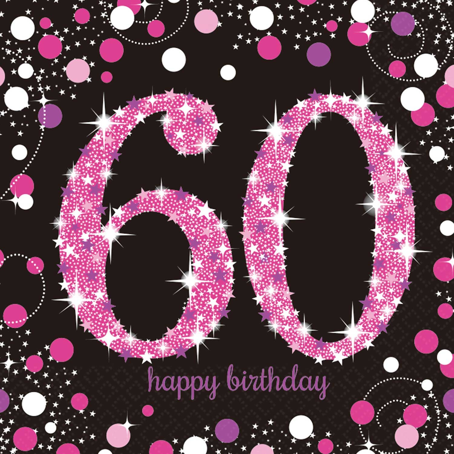 60th Happy Birthday Pink Napkins