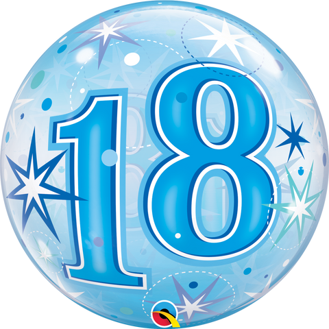 18th Blue Starburst Sparkle Bubble Balloon