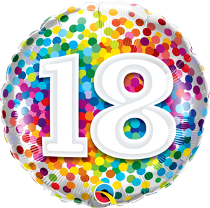 18th Birthday Rainbow Confetti Balloon
