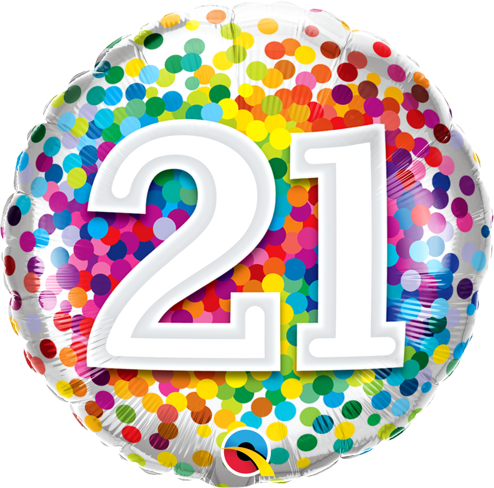 21st Birthday Rainbow Confetti Balloon