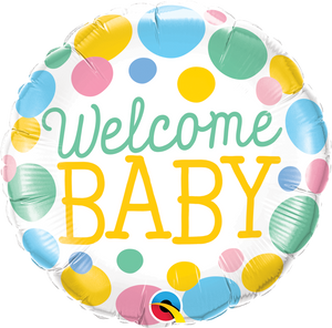 Welcome Baby Dots Balloon