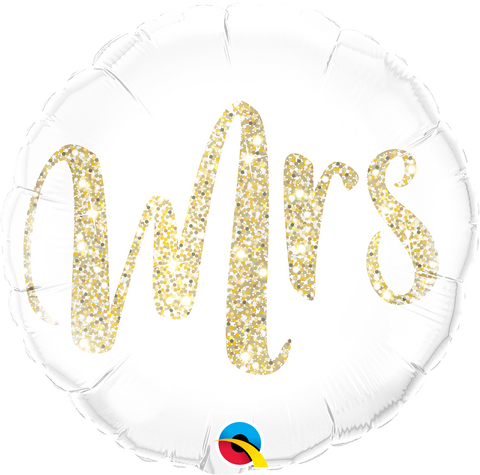 Mrs Gold Glitter Balloon