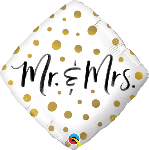 Mr & Mrs Gold Dots Balloon