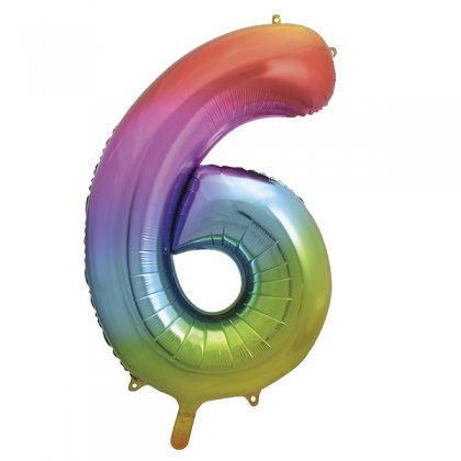 Rainbow Number 6 Supershape Balloon